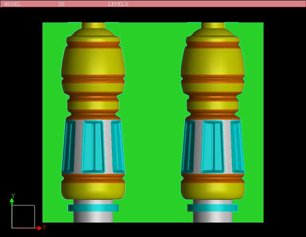 吹瓶模具三维图